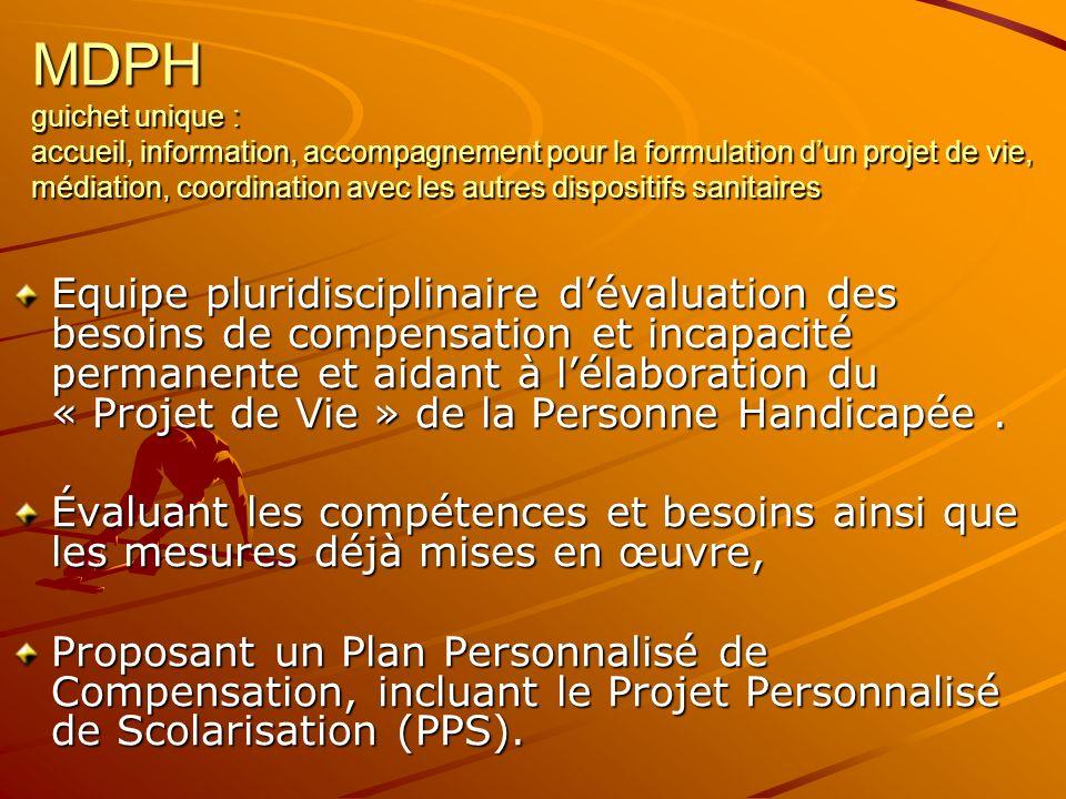 MDPH guichet unique : accueil, information, accompagnement pour la formulation d'un projet de vie, médiation, coordination avec les autres dispositifs sanitaires