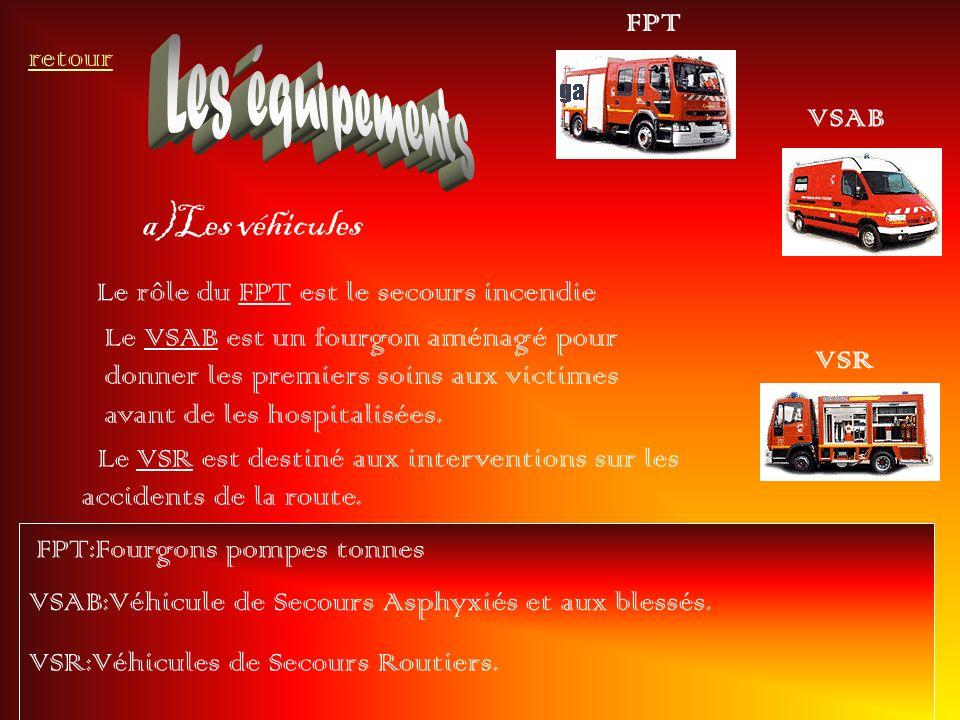 Les équipements a)Les véhicules FPT retour VSAB