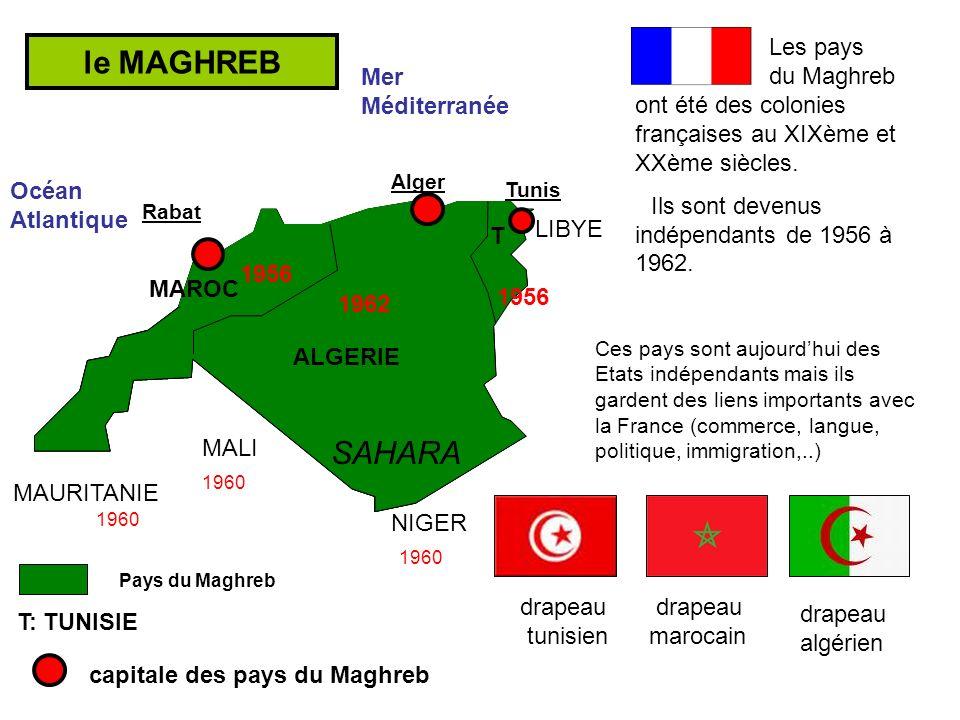 Les pays du Maghreb ont été des colonies françaises au XIXème et XXème siècles.