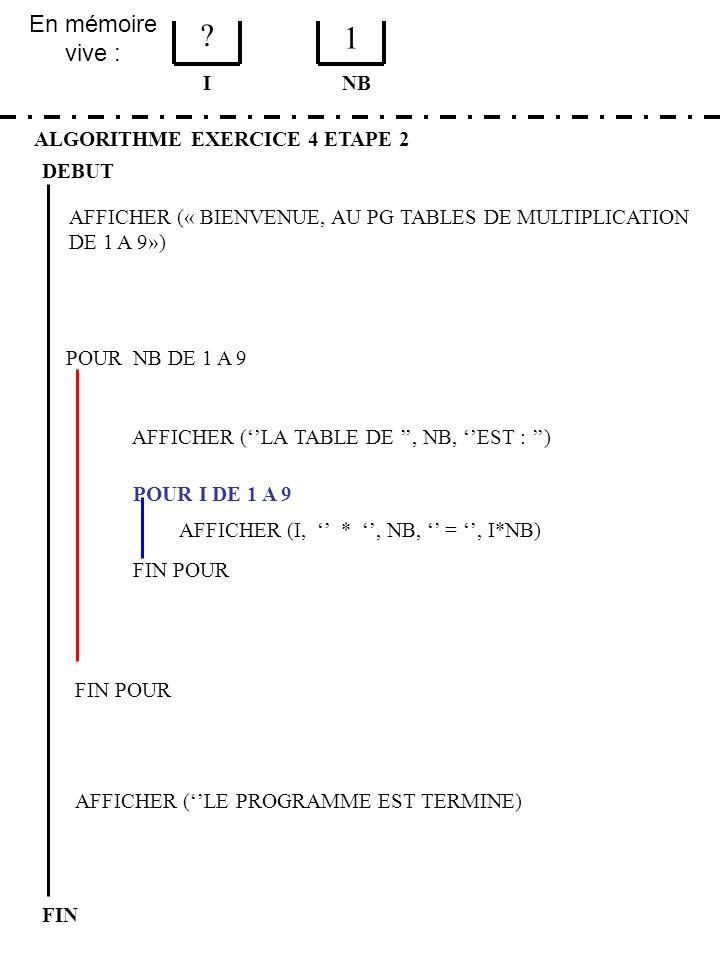 1 En mémoire vive : I NB ALGORITHME EXERCICE 4 ETAPE 2 DEBUT