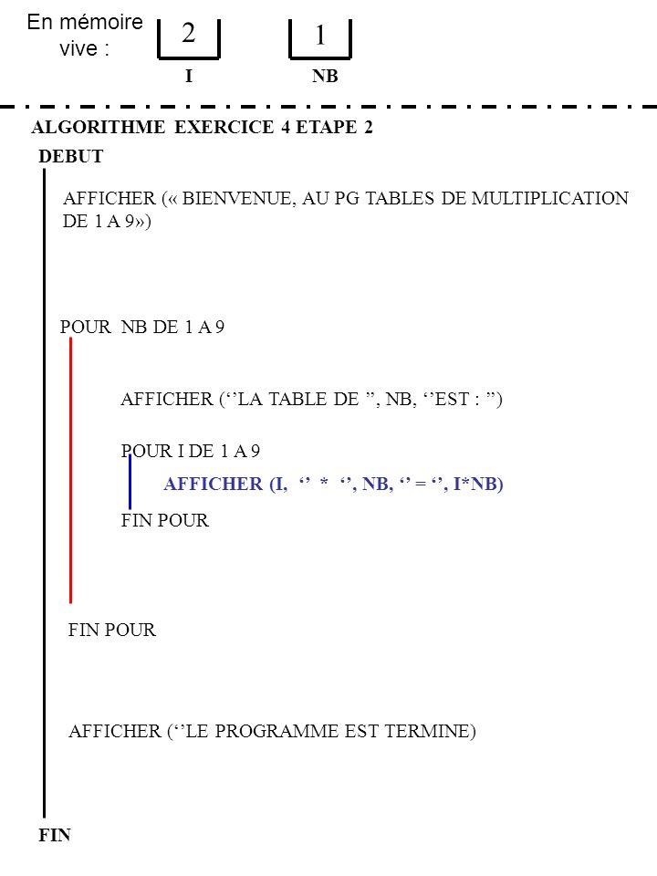 2 1 En mémoire vive : I NB ALGORITHME EXERCICE 4 ETAPE 2 DEBUT