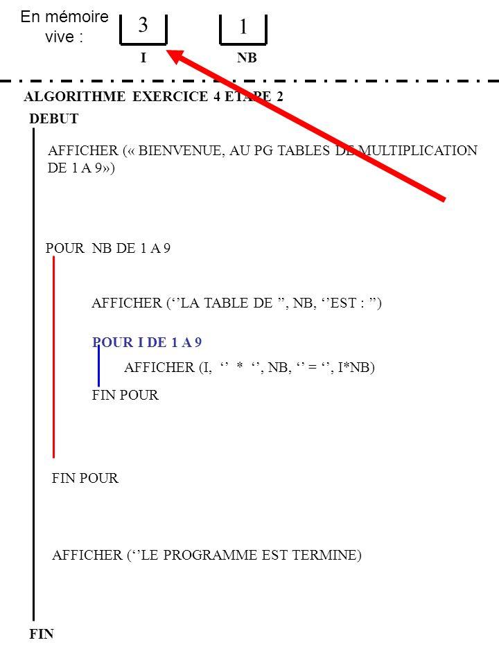 3 1 En mémoire vive : I NB ALGORITHME EXERCICE 4 ETAPE 2 DEBUT