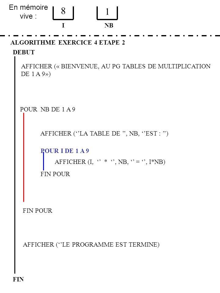 8 1 En mémoire vive : I NB ALGORITHME EXERCICE 4 ETAPE 2 DEBUT