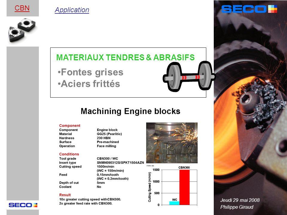 Fontes grises Aciers frittés MATERIAUX TENDRES & ABRASIFS CBN