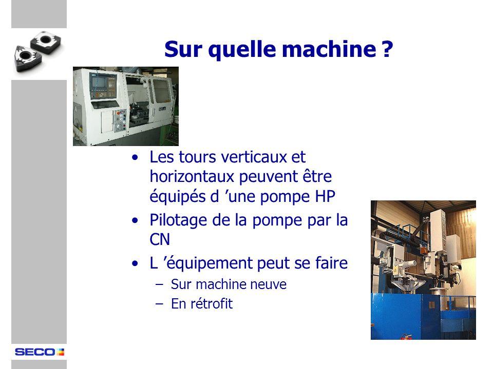 Sur quelle machine Les tours verticaux et horizontaux peuvent être équipés d 'une pompe HP. Pilotage de la pompe par la CN.