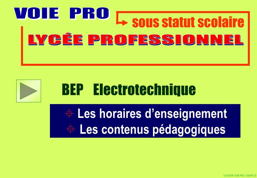 BEP Electrotechnique sous statut scolaire Les contenus pédagogiques