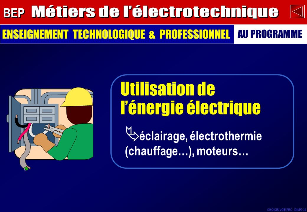 Métiers de l'électrotechnique