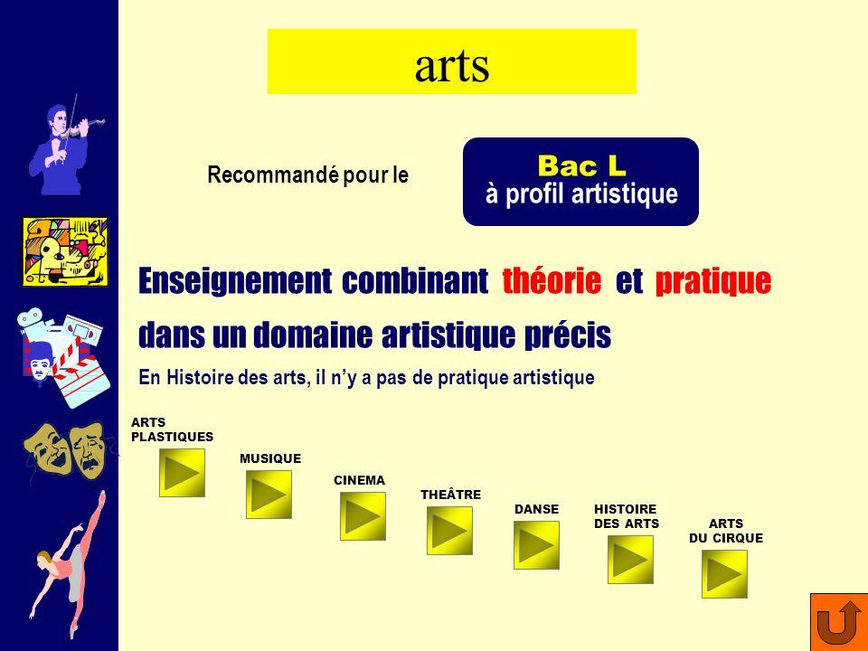 arts Bac L. à profil artistique. Recommandé pour le. Enseignement combinant théorie et pratique dans un domaine artistique précis.