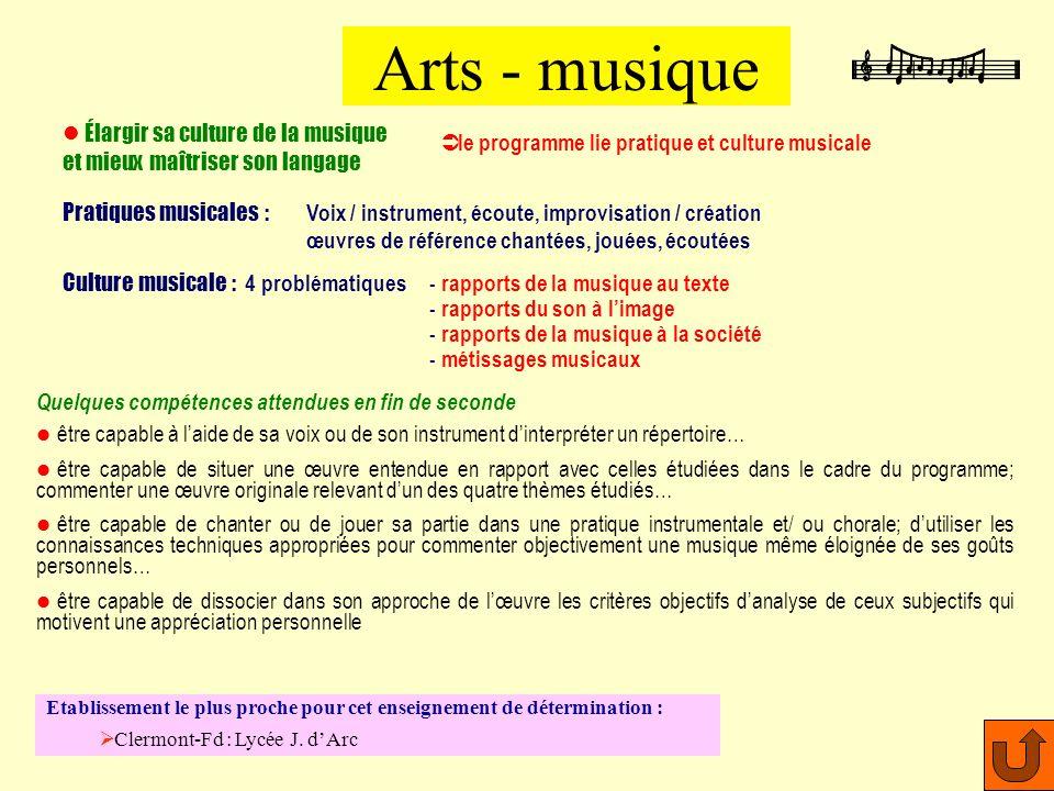 Arts - musique Élargir sa culture de la musique et mieux maîtriser son langage. le programme lie pratique et culture musicale.