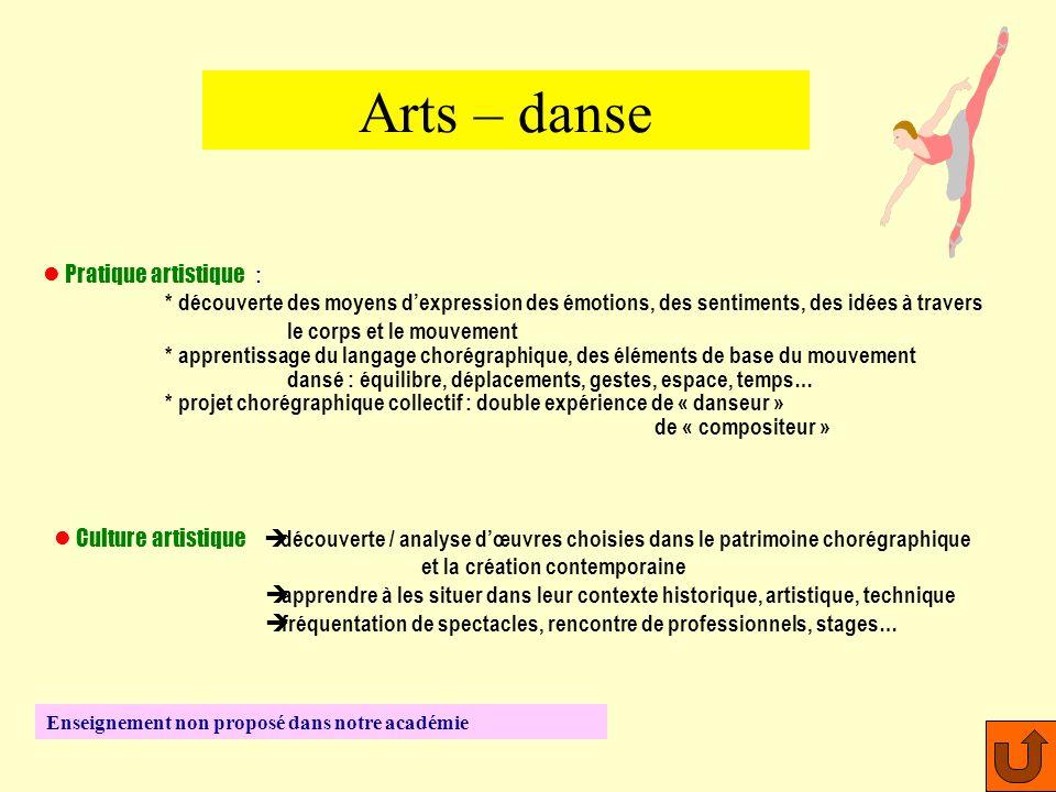 Arts – danse Pratique artistique :