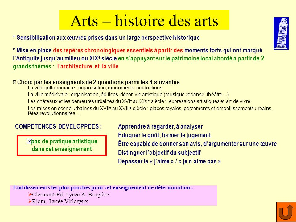 Arts – histoire des arts
