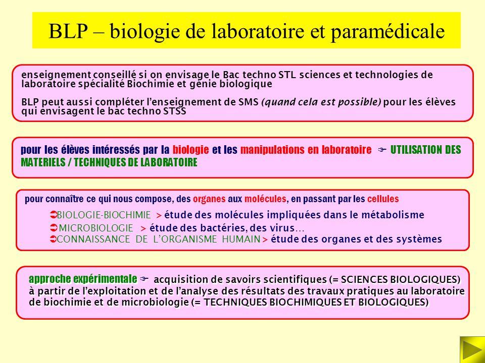 BLP – biologie de laboratoire et paramédicale
