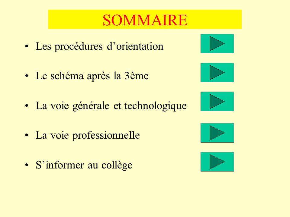 SOMMAIRE Les procédures d'orientation Le schéma après la 3ème