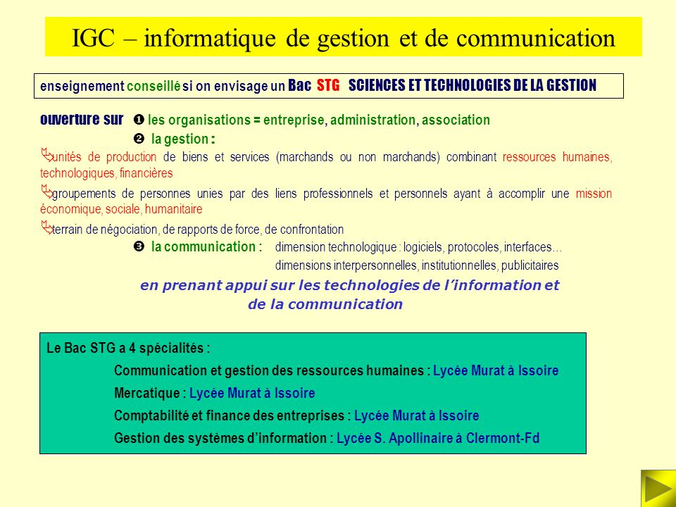 IGC – informatique de gestion et de communication