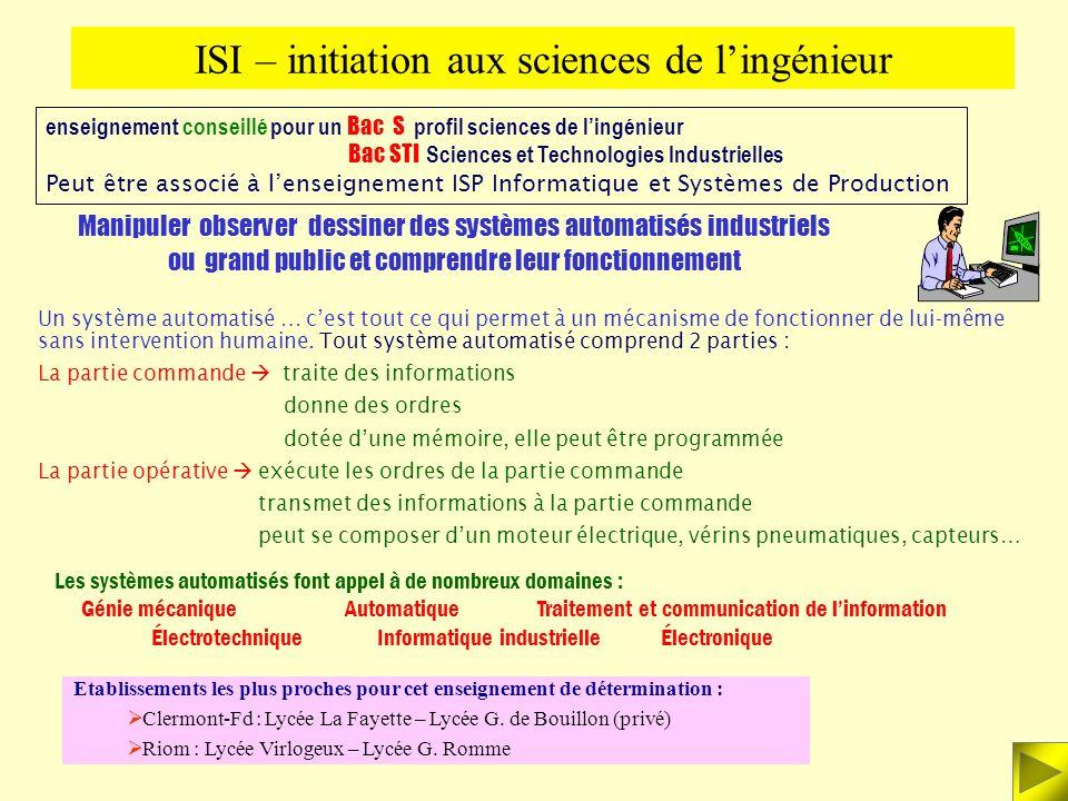 ISI – initiation aux sciences de l'ingénieur