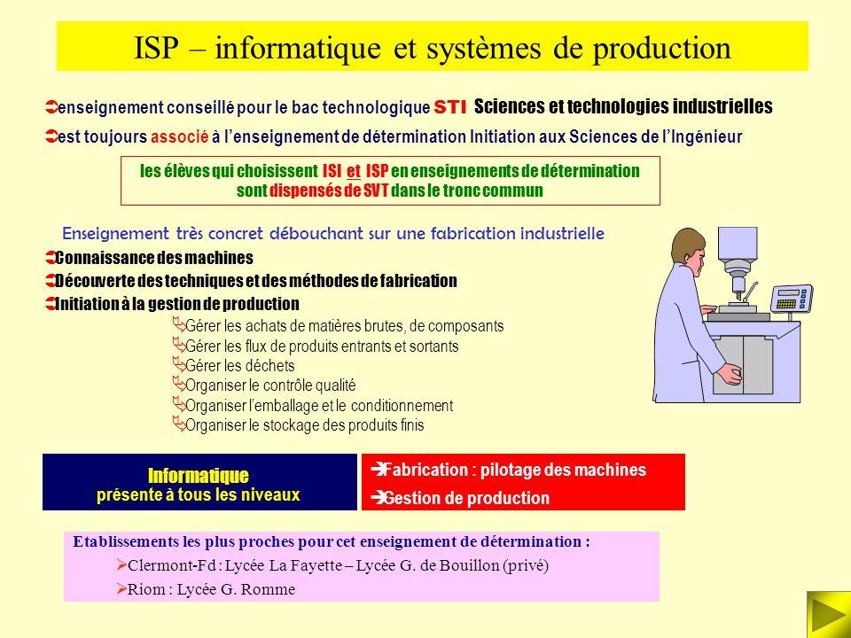 ISP – informatique et systèmes de production