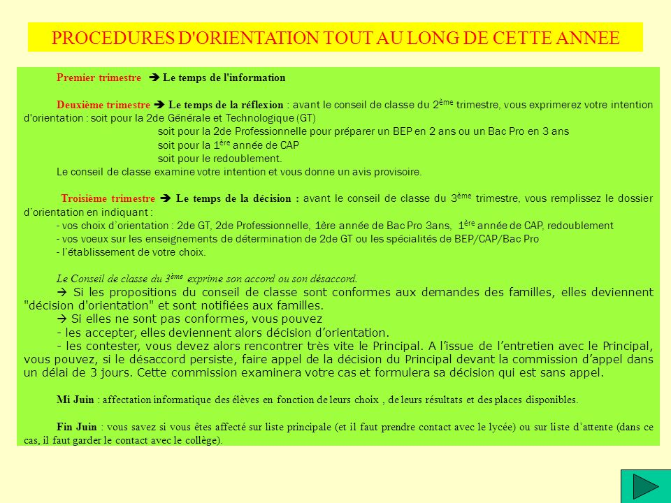 PROCEDURES D ORIENTATION TOUT AU LONG DE CETTE ANNEE