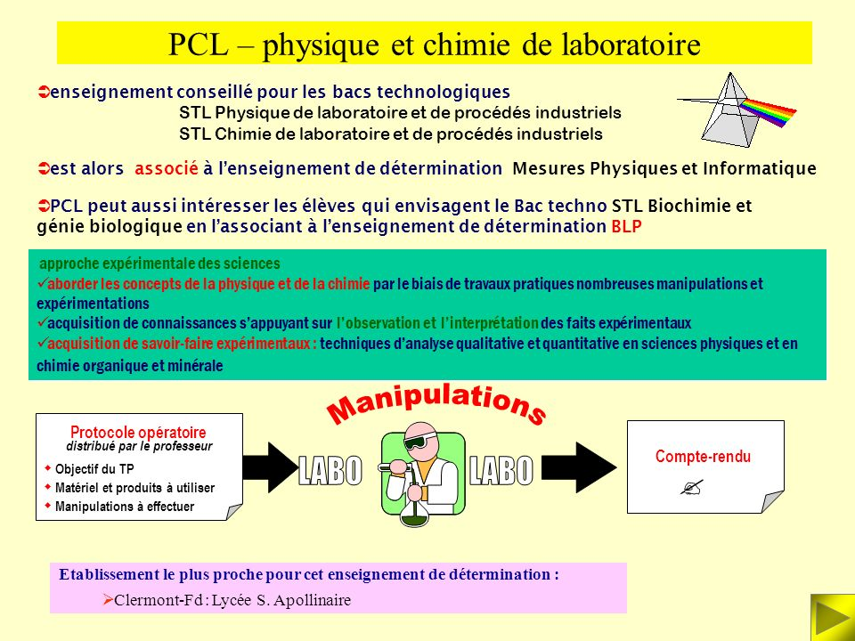 PCL – physique et chimie de laboratoire