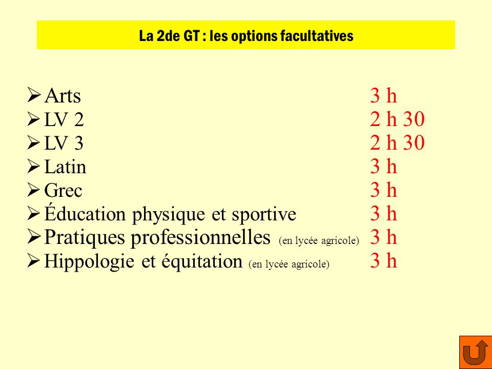 La 2de GT : les options facultatives