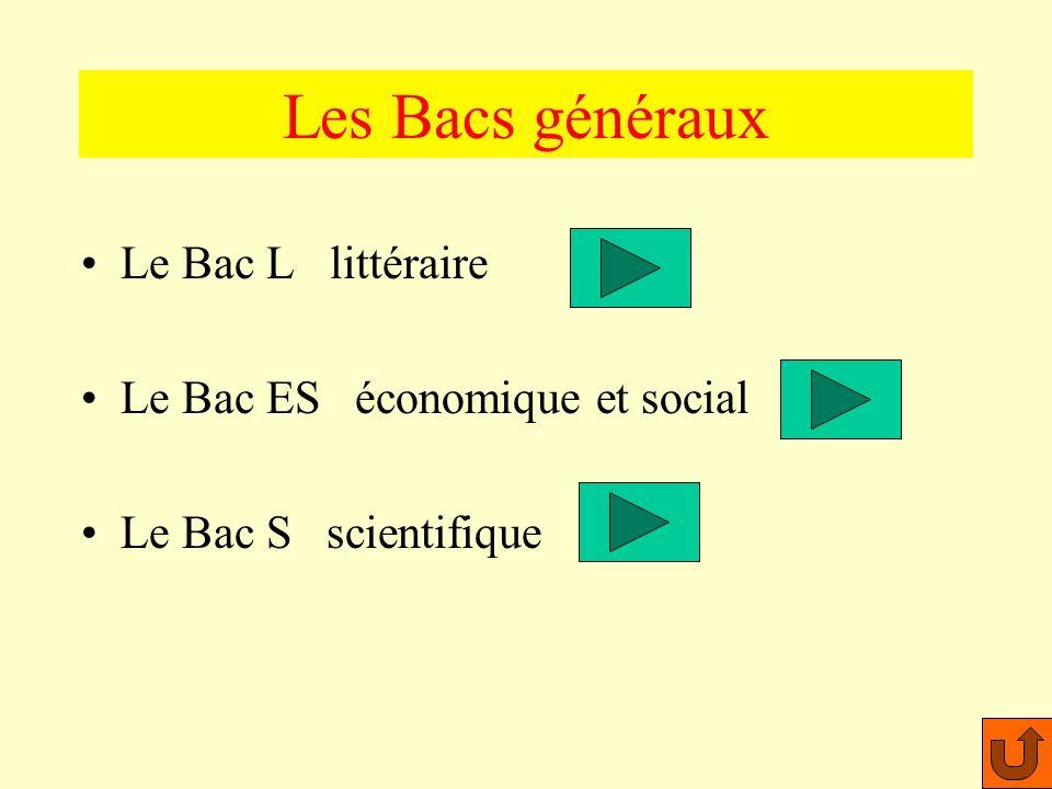 Les Bacs généraux Le Bac L littéraire Le Bac ES économique et social