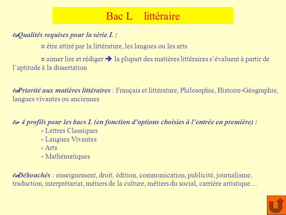 Bac L littéraire Qualités requises pour la série L :