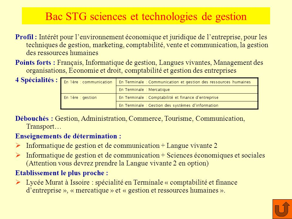 Bac STG sciences et technologies de gestion