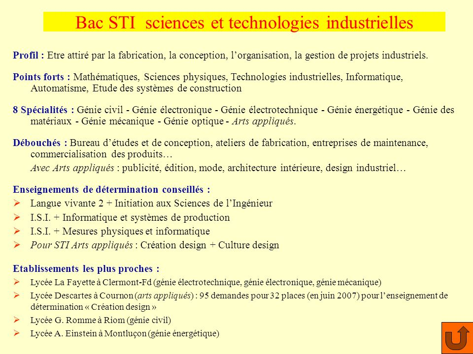 Bac STI sciences et technologies industrielles