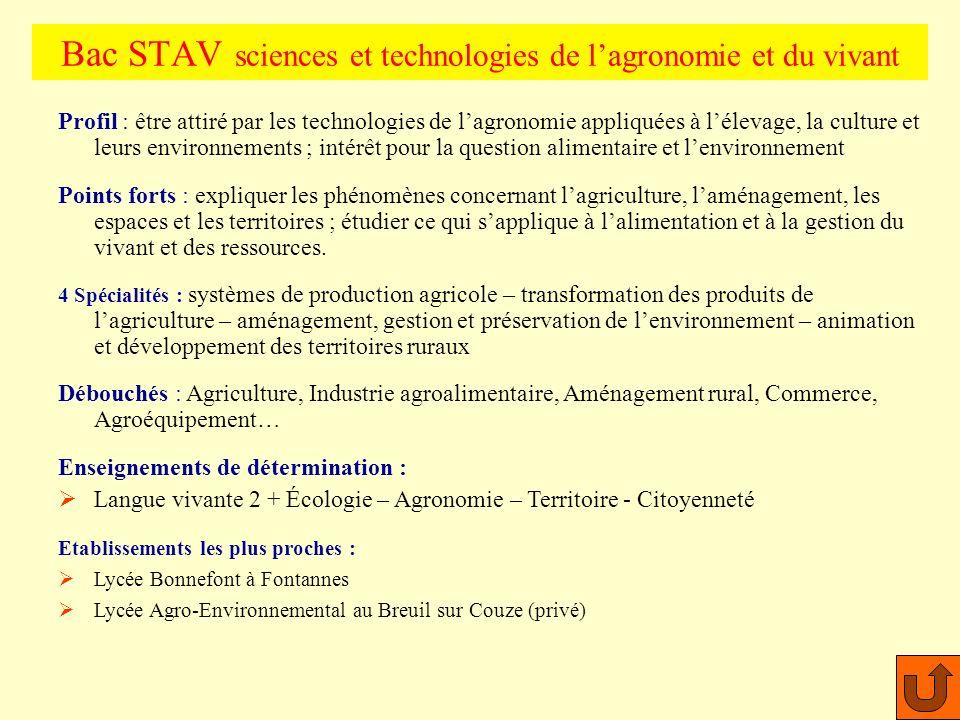 Bac STAV sciences et technologies de l'agronomie et du vivant