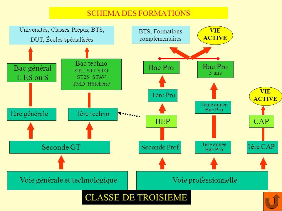 CLASSE DE TROISIEME SCHEMA DES FORMATIONS Bac Pro Bac Pro Bac général