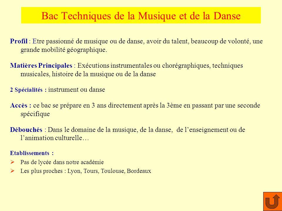 Bac Techniques de la Musique et de la Danse