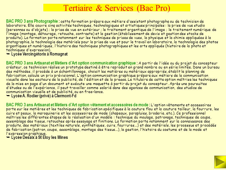 Tertiaire & Services (Bac Pro)