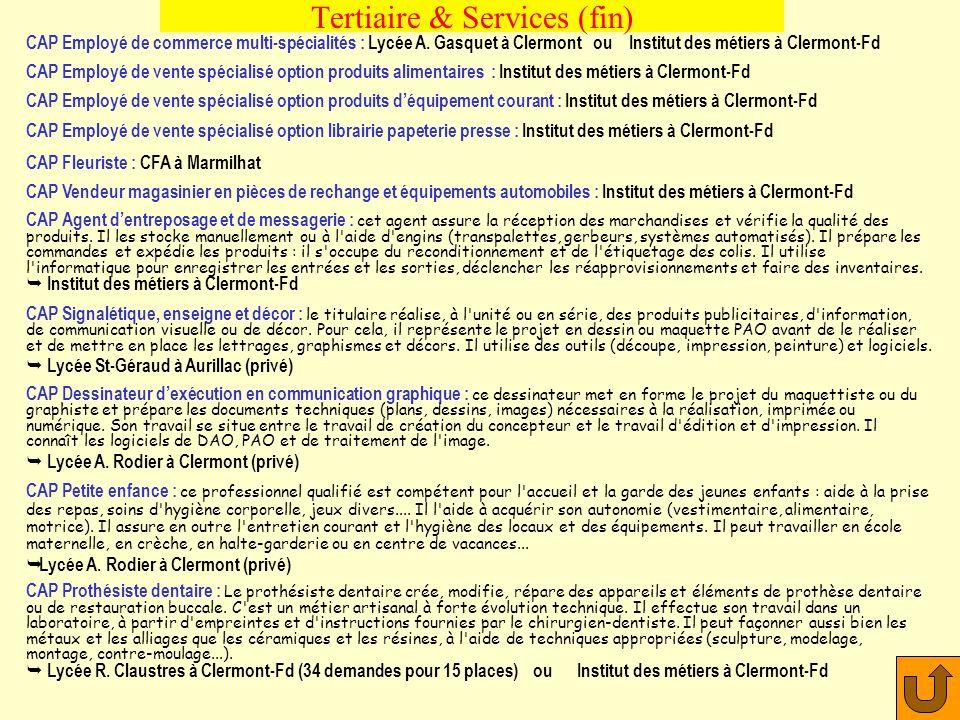 Tertiaire & Services (fin)