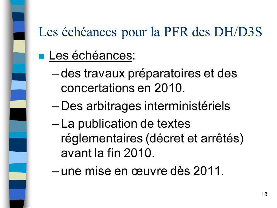 Les échéances pour la PFR des DH/D3S
