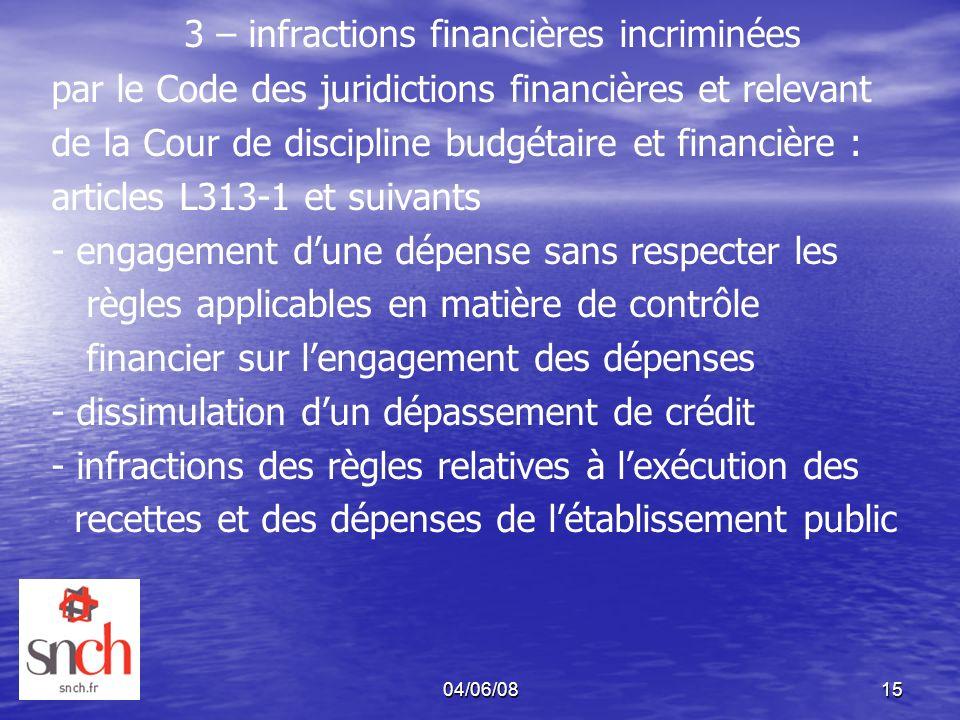 3 – infractions financières incriminées