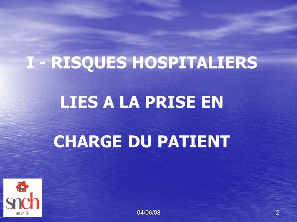 I - RISQUES HOSPITALIERS LIES A LA PRISE EN CHARGE DU PATIENT