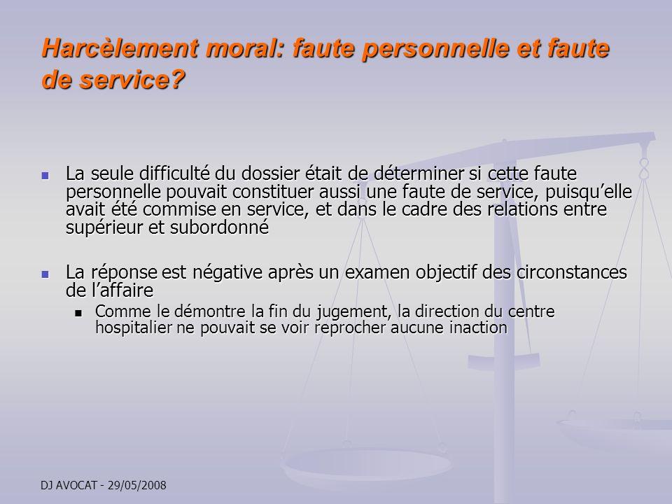 Harcèlement moral: faute personnelle et faute de service