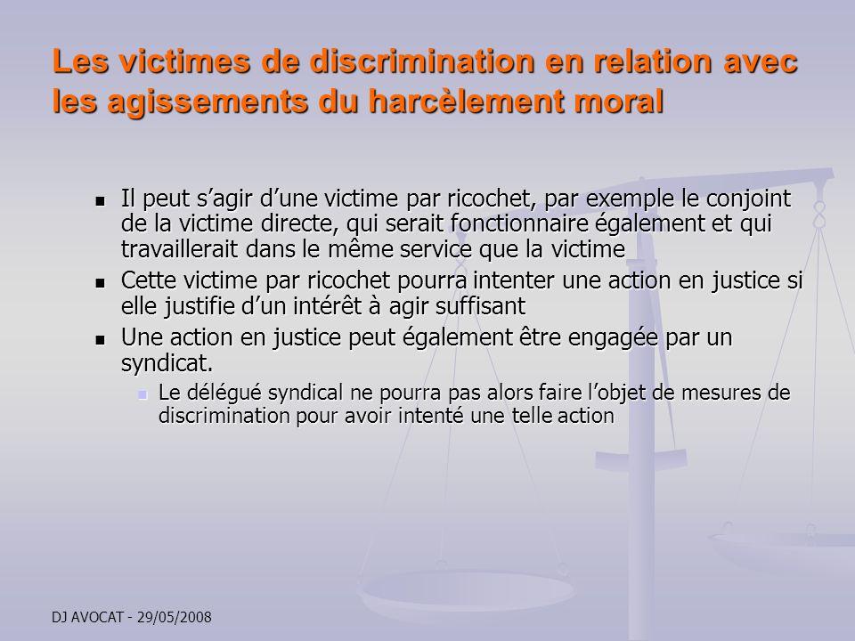 Les victimes de discrimination en relation avec les agissements du harcèlement moral