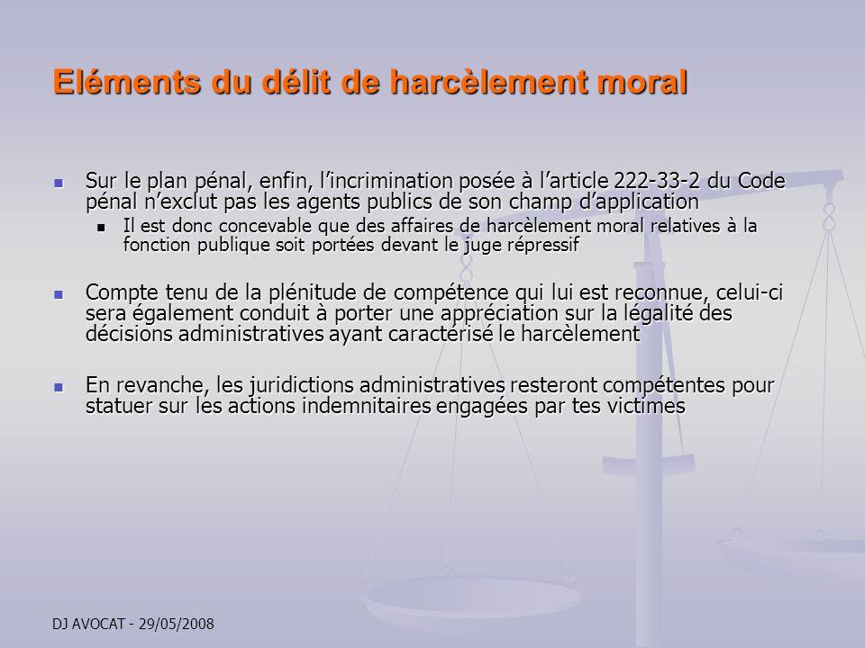 Eléments du délit de harcèlement moral