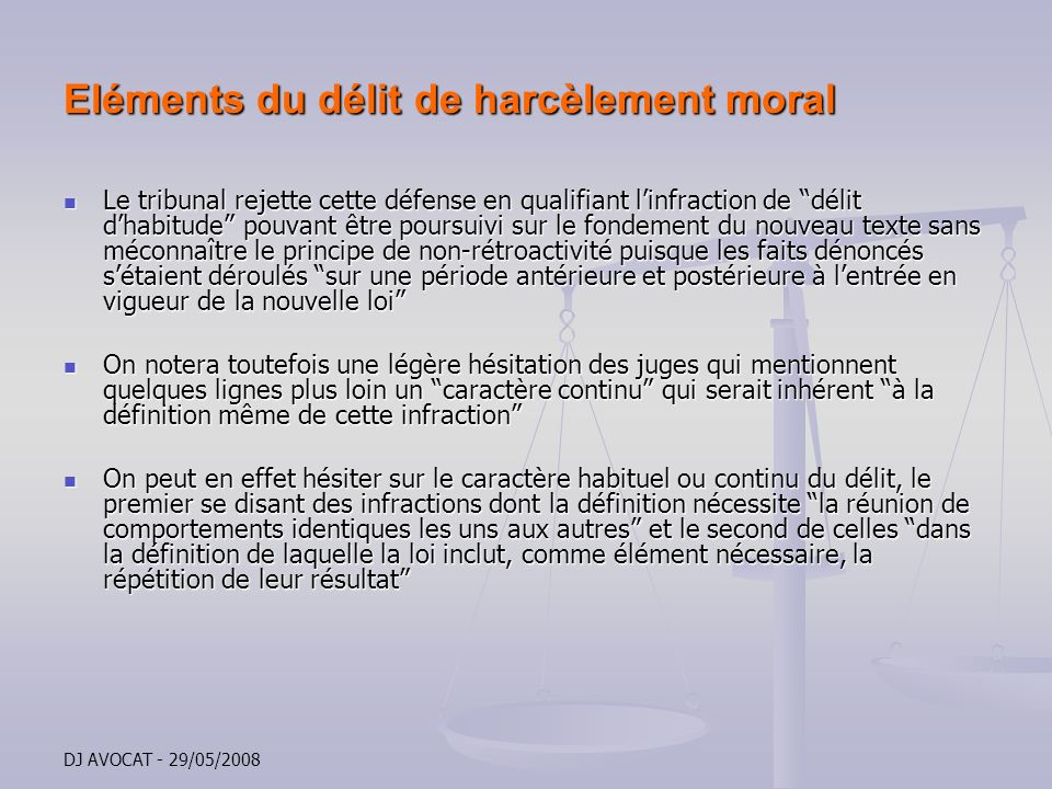 Le fabuleux destin du concept de harcelement moral etat for Definition delit