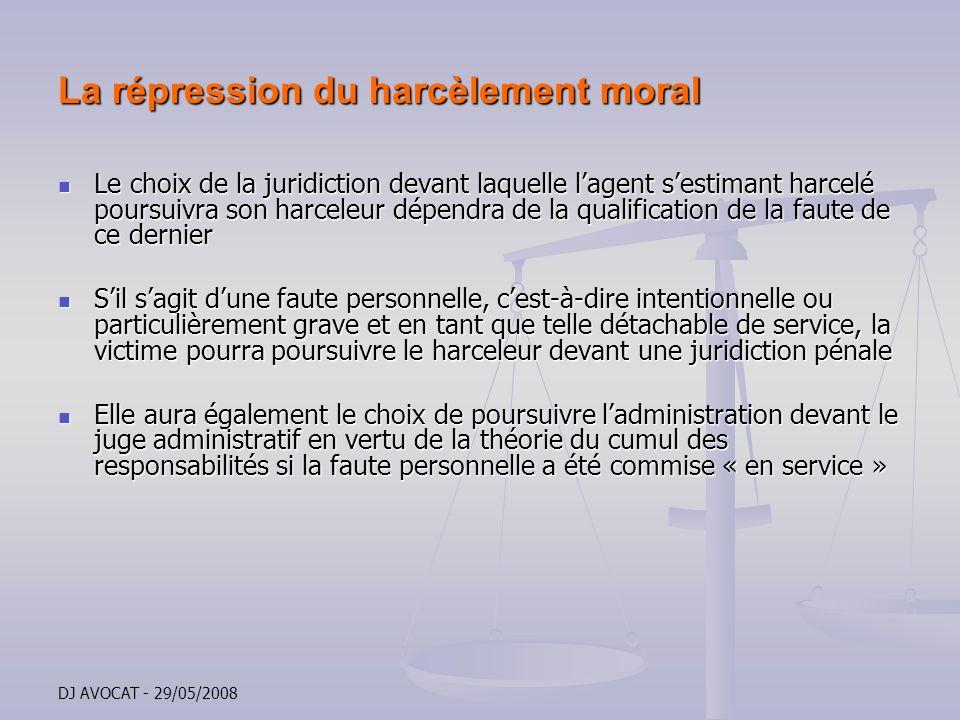 La répression du harcèlement moral