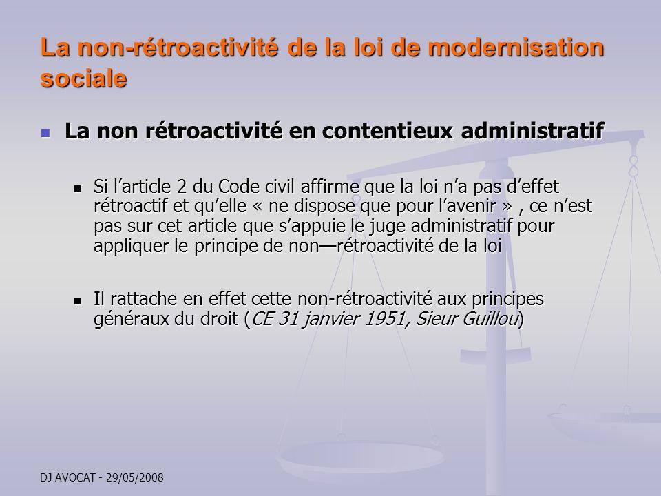La non-rétroactivité de la loi de modernisation sociale