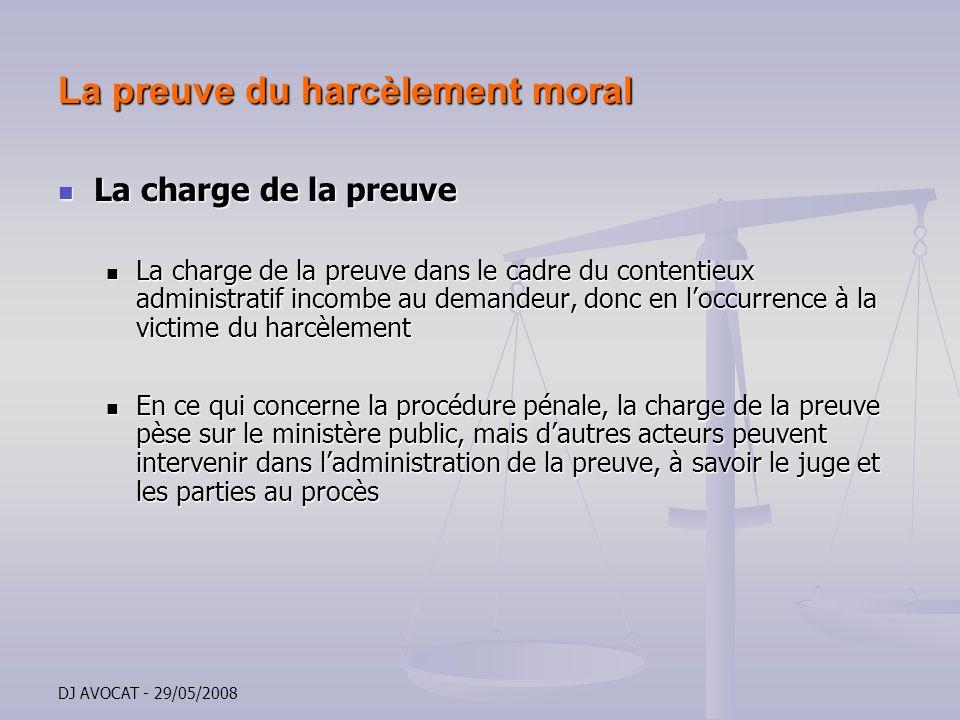 La preuve du harcèlement moral