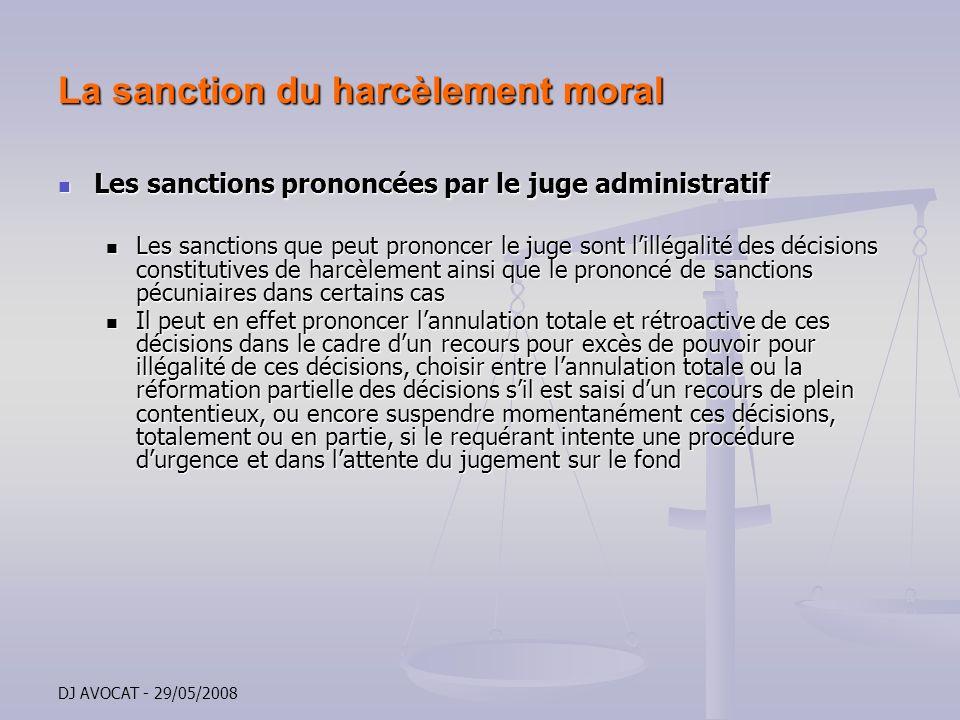 La sanction du harcèlement moral