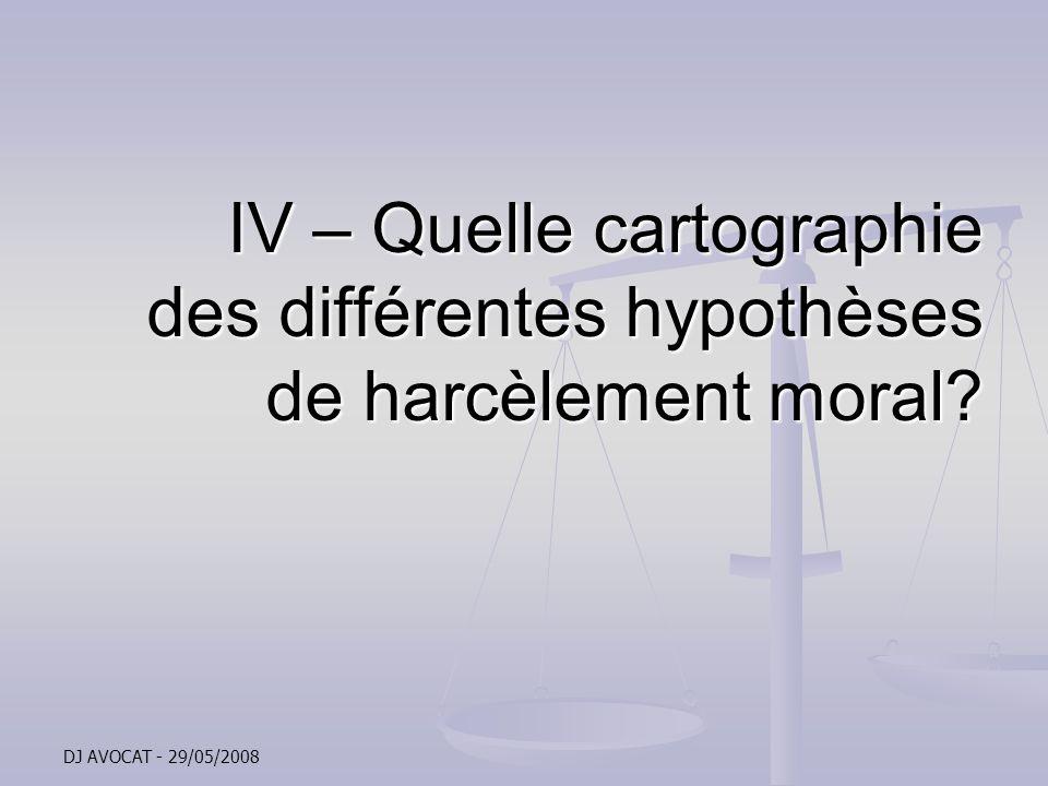 IV – Quelle cartographie des différentes hypothèses de harcèlement moral