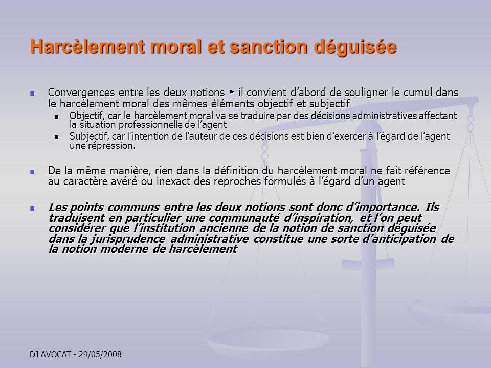 Harcèlement moral et sanction déguisée