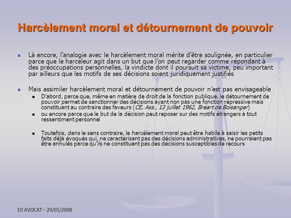 Harcèlement moral et détournement de pouvoir