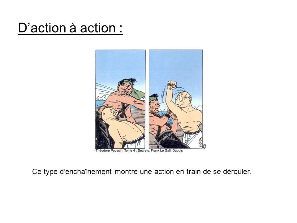 D'action à action : Ce type d'enchaînement montre une action en train de se dérouler.