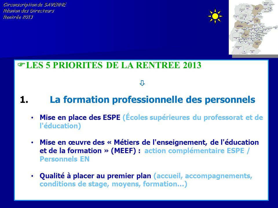 LES 5 PRIORITES DE LA RENTREE 2013 