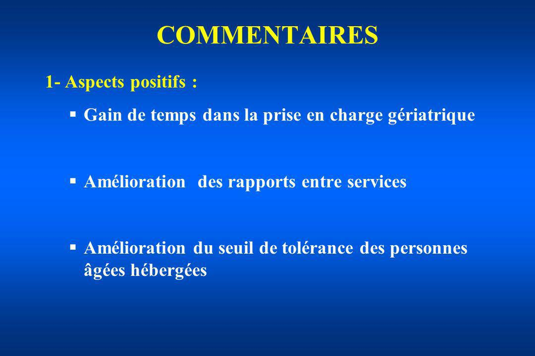 COMMENTAIRES 1- Aspects positifs :