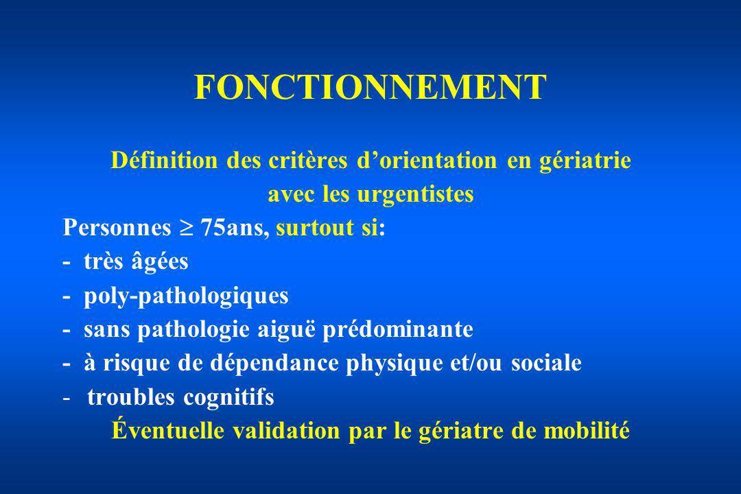 FONCTIONNEMENT Définition des critères d'orientation en gériatrie